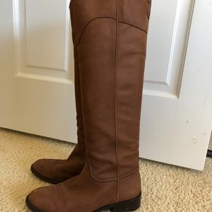 Chanel Marron Clair Nubuck Leather Riding Boots